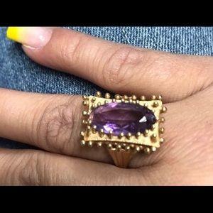 Vintage 14k Gold 4 CT Amethyst Ring Size 7.25